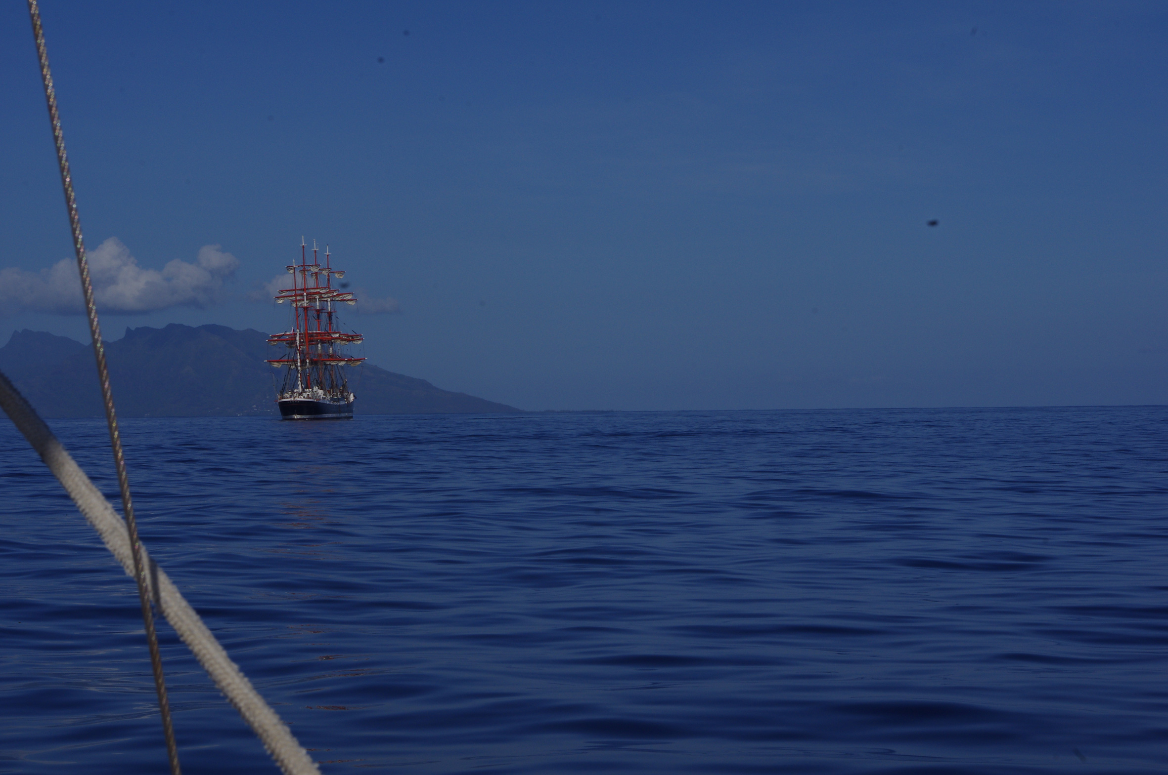 Solemn Meeting of Yacht DELTA and Barque SEDOV in Tahiti