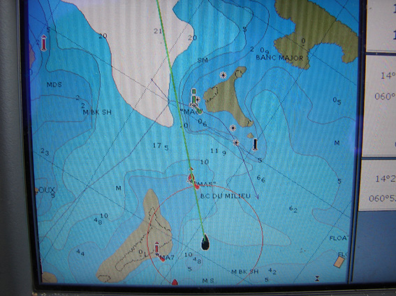 GLONASS Helps Us Bypass Coral Reefs near the Island of Martinique