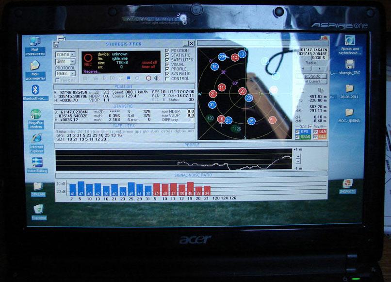 Мониторинг зон покрытия и уровня сигнала системы ГЛОНАСС